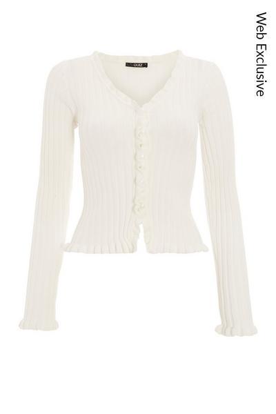 Cream Knitted Frill Cardigan